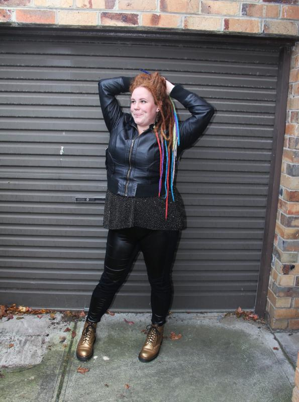 city chic 17 sundays wet look kobi jae horror kitsch bitch fat fatty girl tattooed plus-size bbw zombie scooter club inked dimples dreads ootd blog blogger aussie australian ootd chubby dreadlocks melbourne coloured colored rainbow
