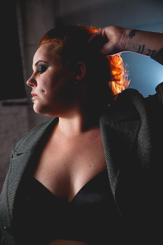 Experimental portrait of plus size model and blogger Kobi Jae of HorrorKitschBitch.com. Photography by Beth Olson Creative.
