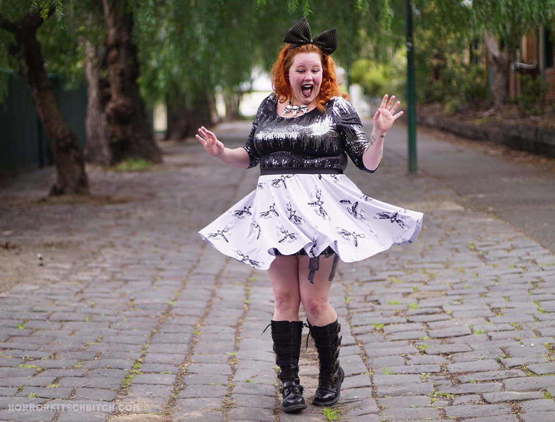 Spotlight on the Death Moth Skater Skirt by Candy Strike. The second in a series of 3 blog posts on HorrorKitschBitch.com, featuring this skirt and it's matching crop top in 3 different outfits!